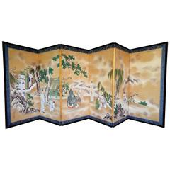Rare Antique Japanese Folding Screen by Kano Tanshin