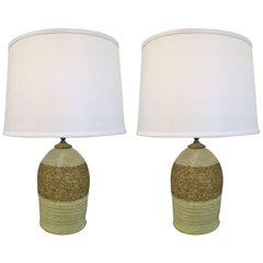 Pair of Art Pottery 1960s Stoneware Table Lamps