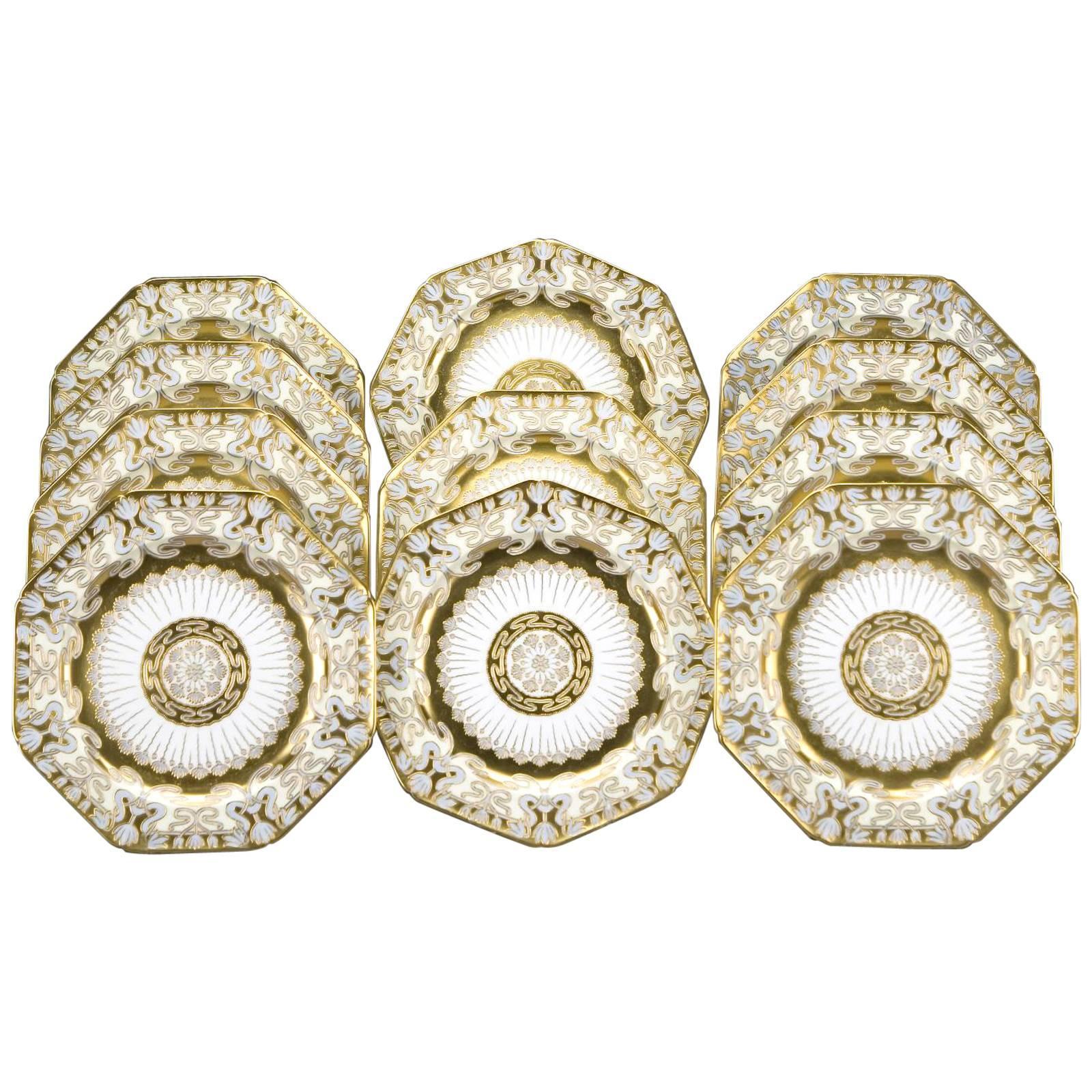 12 Cauldon Gilt Octagonal Service Plates, Art Nouveau Raised Gold Blue Ground