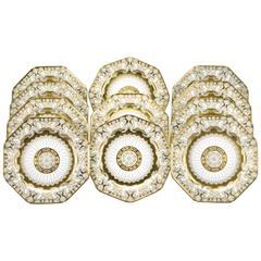 12 Cauldon Octagonal Service Plates, Art Nouveau Raised Gold and Sky Blue Ground