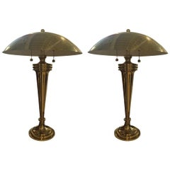 Pair of Brass Art Deco Modernist Table Lamps