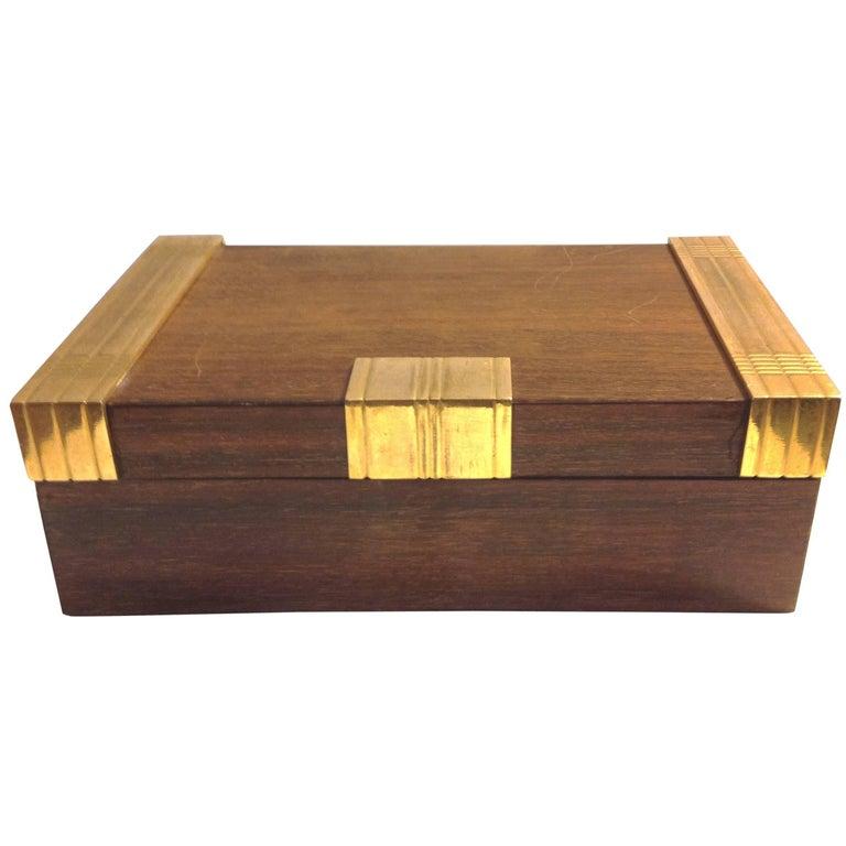 Beautiful Cigar Box, Mahogany and Gilded Bronze, Boin Taburet, Paris, circa 1930 For Sale