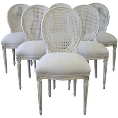 Louis XVI Style Cane Back Dining Chairs