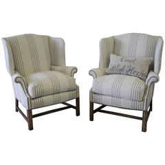 Pair of French Linen Wingback Chairs