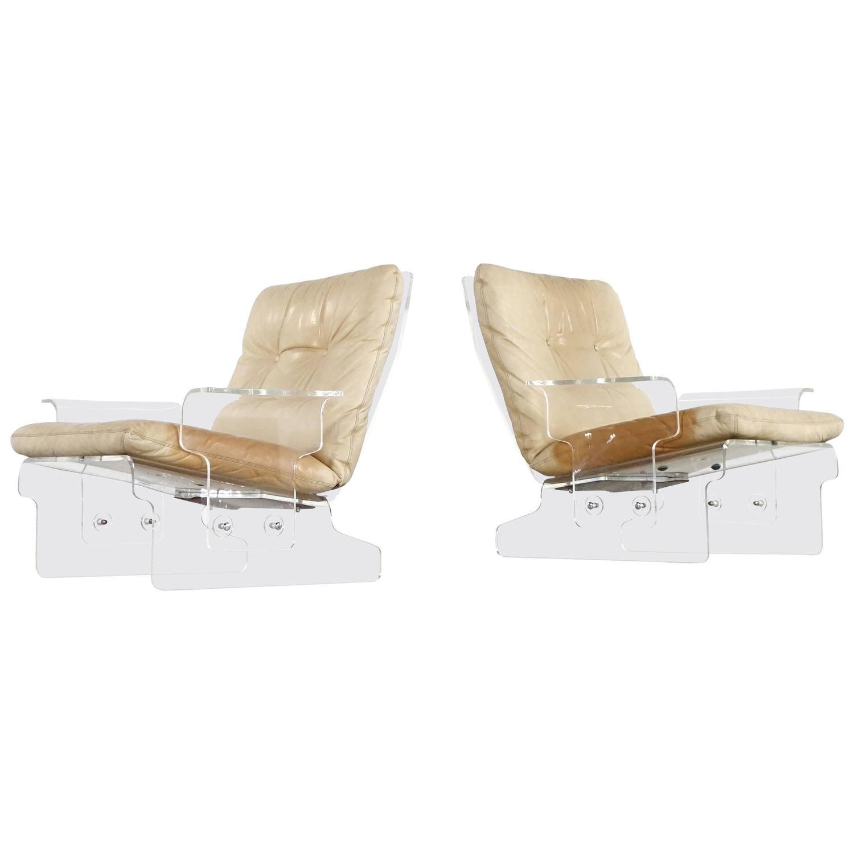Admirable Two Lucite Baumann Lounge Chair Sleigh System 1966 Leather Spiritservingveterans Wood Chair Design Ideas Spiritservingveteransorg