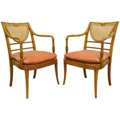 Pair of Hand-Carved Caned Regency Style Cambridge Armchairs by Alfonso Marina