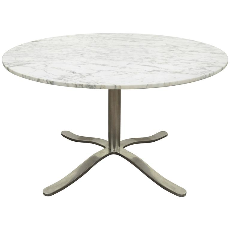Nicos Zographos Marble and Chrome Steel Round Alpha Dining Table