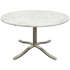 Nicos Zographos Round Marble Top Chrome Steel Pedestal Base Alpha Dining Table