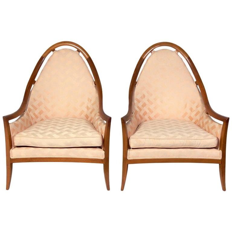 Pair of Sculptural Arch Back Chairs Designed by Harvey Probber For Sale