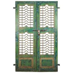 Painted Teak and Iron Door or Courtyard Gate from India