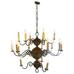 Dutch Iron and Wood Baroque Style Chandelier, circa 19th Century