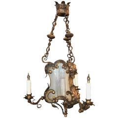 18th C Venetian Baroque Gilt, Tole, and Glass Lantern Chandelier