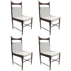 Jacaranda Cantu-High Chairs by Sergio Rodrigues, Original White Upholstery