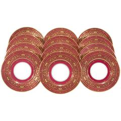 12 Minton Burgundy Red Border Service Plates with Raised Paste Gold Decoration