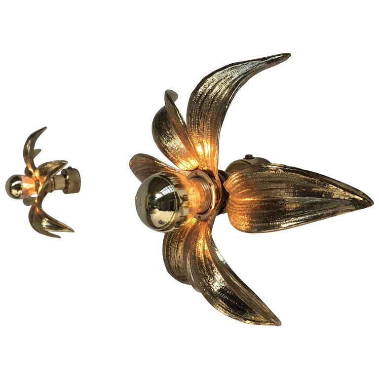 Pair of 1970s Brass Flower Appliques Maison Jansen Style For Sale