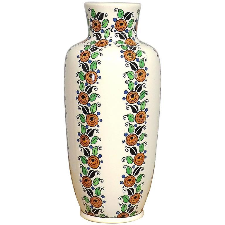 Art Deco Flower Vase by Boch Freres Keramis