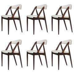 Kai Kristiansen Danish Rosewood Curved Back Dining Chairs in White