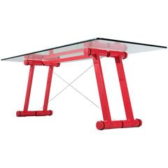 Exclusive black and chrome dining table base with glass for Superstudio arredamento