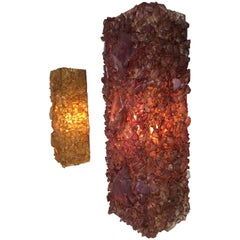 1970s Brutalist Glass Chips Wall Appliques Artisan Made, The Netherlands