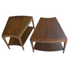 Pair of Wedge-Shaped the Wave Two-Tier Side Tables