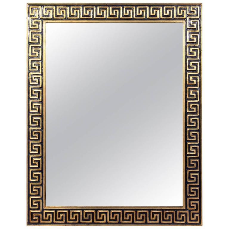 Elegant Gold Leaf and Black Greek Key Mirror