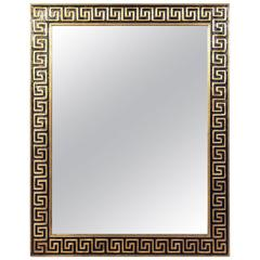 Elegant Gold Leaf and Black Greek Key Mirror