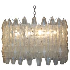Large Poliedri Clear Glass Chandelier