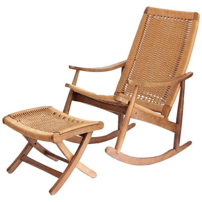 Woven Rope Mid Century Modern Rocking Chair And Ottoman For