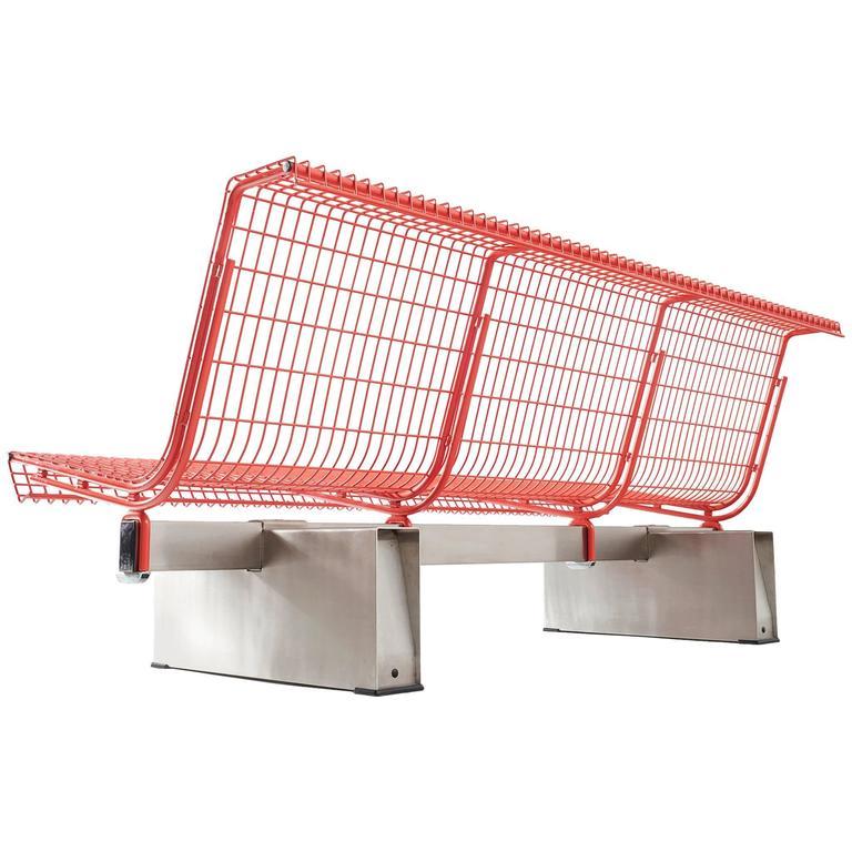 osvaldo borsani red metal bench for tecno for sale at 1stdibs. Black Bedroom Furniture Sets. Home Design Ideas