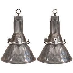 Pair of Vintage Aluminum Industrial Pendants