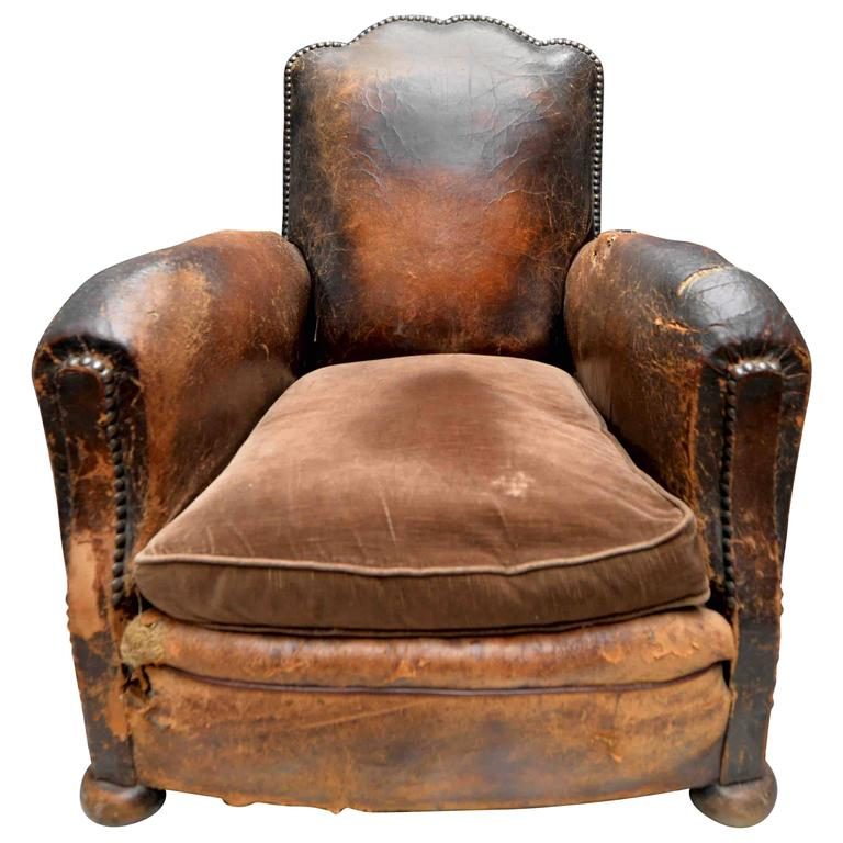 19th Century French Leather Lounge Club Chair