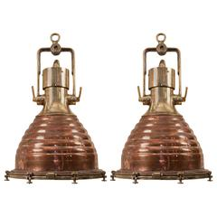 "Pair of Large Copper and Brass ""Beehive"" Ship Deck Lights"