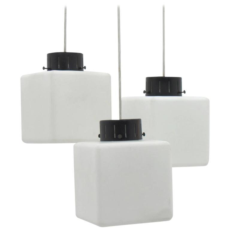 Set of Three Milk Glass Cube Pendants by Stilnovo, Italy, 1960s