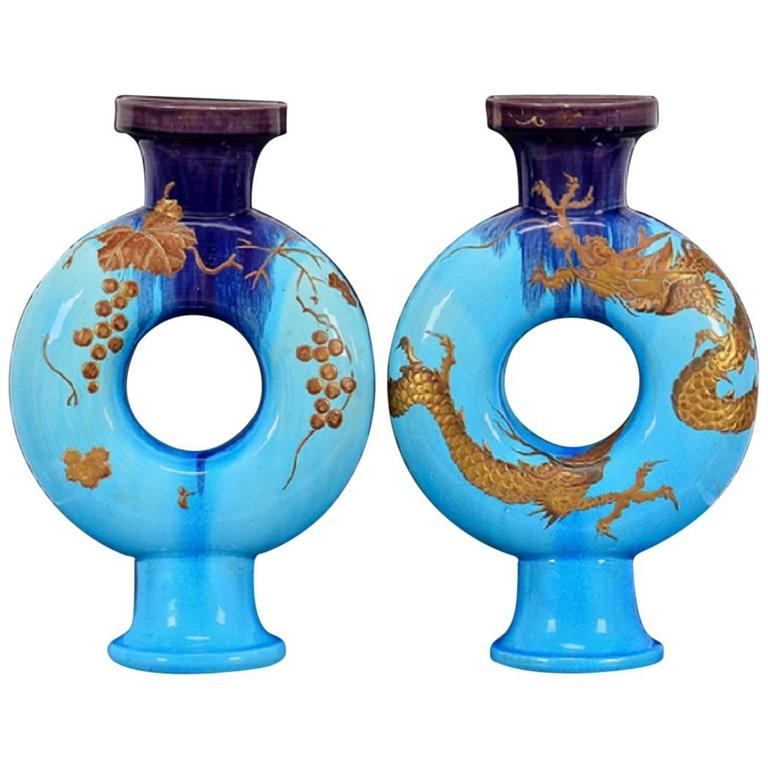 "Rare Holiday Decor, Antique Large Gold Gilt ""Dragon"" Vases, 19th Century For Sale"