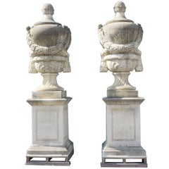 19th Century Pair of Monumental Urns in Limestone