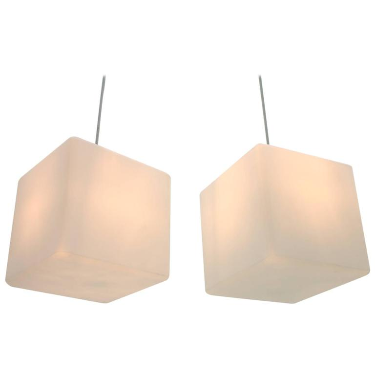 Pair of Milk Glass Cube Pendants by Stilnovo, Italy, 1960s 1