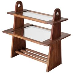 Guillerme et Chambron Oak and Glass Side Table