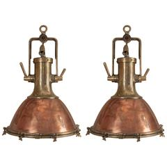 Pair of Mid-Century Copper and Brass Ship Deck Lights