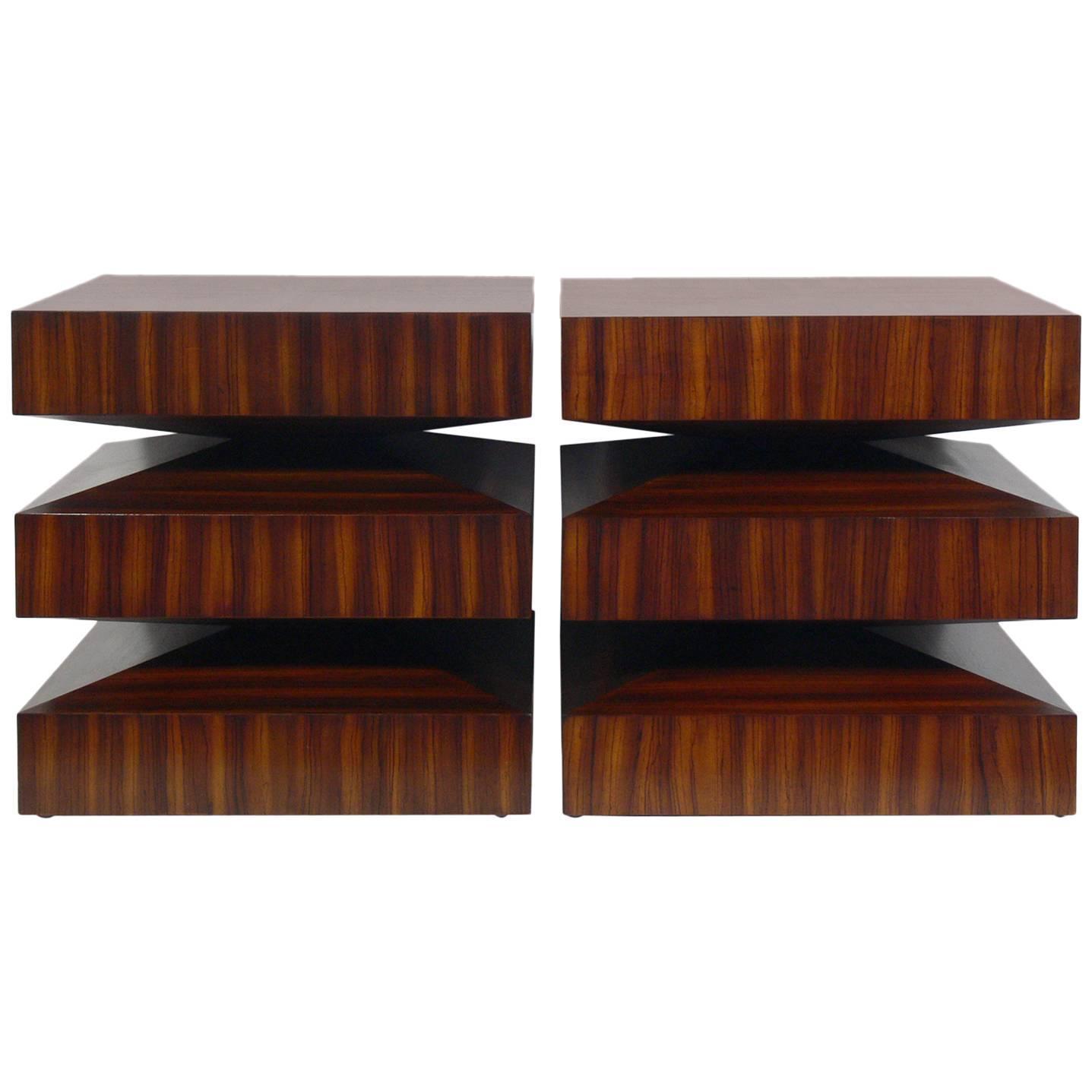 pair of sculptural zebra wood end tables at 1stdibs