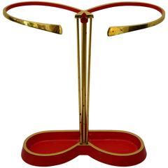 Mid-Century Austrian Umbrella Stand, Red