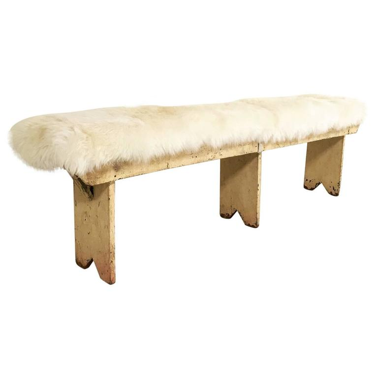 Vintage Walnut Farmhouse Bench With Sheepskin Cushion At 1stdibs