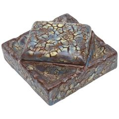 French Signed Two-Part Angled Asymmetrical Ceramic Box