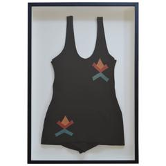Vintage Swim Suit Framed in Shadow Box as Wall Art