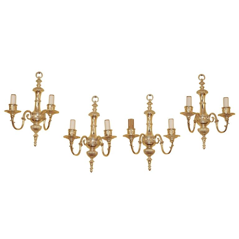 Set of Four Caldwell Style Silvered Metal Two-Arm Wall Light Sconces