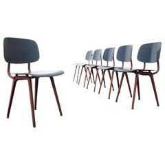 Set of Six Rare Salmon & Blue Friso Kramer 'Revolt' Chairs, 1958
