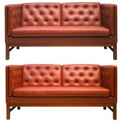 Freestanding Two-Seat Sofas with Button Fitted Cushions by Erik Ole Jørgensen