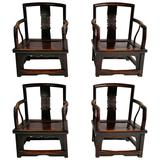 Set of Four Chinese Official's Chairs, Rosewood, Qing Dynasty, China