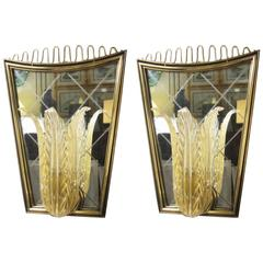 Pair of Mirrored Sconces, Art Moderne, Italy 1940s