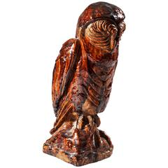 Continental Glazed Pottery Owl