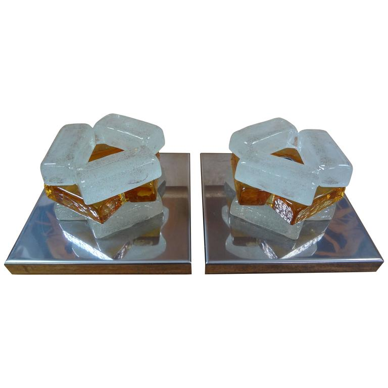 Pair Of Geometric Poliarte Style Murano Glass Sconces